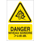 Danger niveau sonore supérieur à 85 dB.