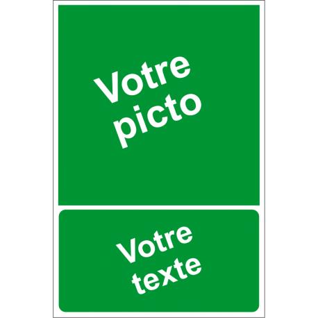 Personnaliser pictogramme Evacuation/Secours avec texte (portrait)