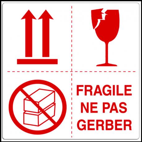 """Etiquette multisymbole """"Fragile ne pas gerber"""""""