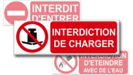 Pictogrammes Interdiction + Texte